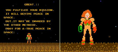 Screenshot 1986's Metroid Ending Image credit http://fashionapocalypse.blogspot.com/2011/05/guest-blog-samus-aran-from-presumed.html