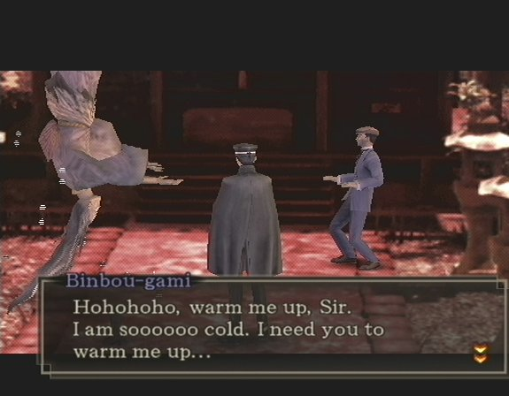 Binbou-gami asking to be warmed up by Tatsumi. Image credit http://lparchive.org/Shin-Megami-Tensei-Devil-Summoner-2/Update%2024/