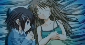 Screencap of Mio and Shizuku in bed together from the Fuwanovel Forum post: http://i.imgur.com/VOAsLQ6.jpg